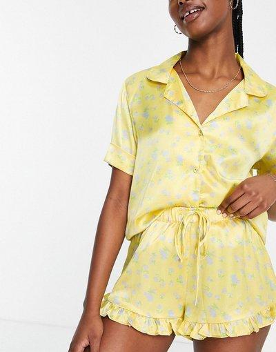Pigiami Giallo donna Pigiama in raso giallo a fiori composto da camicia e pantaloncini con volant - ASOS DESIGN
