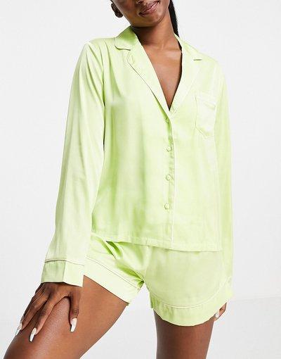 Pigiami Multicolore donna Pigiama in raso lime con bordi a contrasto con camicia a maniche lunghe e pantaloncini - ASOS DESIGN - Multicolore