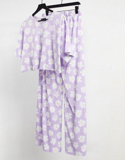 Pigiami Viola donna shirt a fiori e pantaloni con fondo ampio - Pigiama lilla con T - ASOS DESIGN - Viola