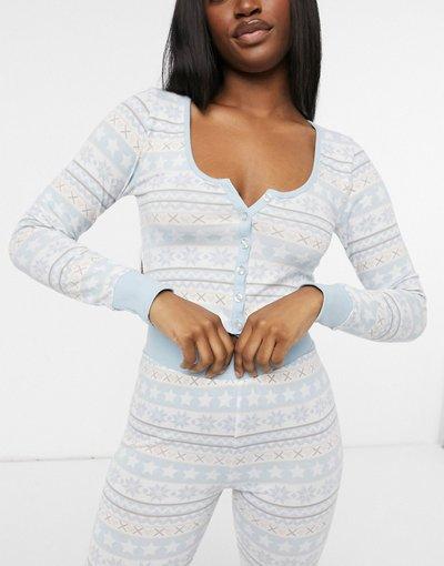 Pigiami Multicolore donna Pigiama natalizio con top con bottoni e leggings con motivo Fair Isle blu e crema - ASOS DESIGN - Multicolore