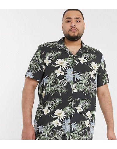 Camicia hawaiana vestibilità classica con rever nera - ASOS DESIGN Plus - Nero  uomo Nero