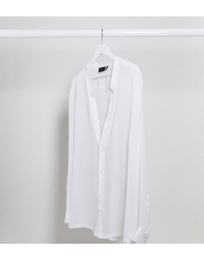 Camicia testurizzata trasparente vestibilità classica con intaglio sullo scollo bianca - ASOS DESIGN Plus - Bianco  uomo Bianco