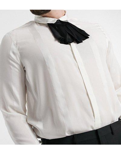 Camicia Bianco uomo Camicia vestibilità classica bianco sporco con righe tono su tono e volant rimovibile sul colletto - ASOS DESIGN Plus