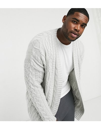 Grigio uomo Cardigan in maglia pesante a trecce bianco stucco - ASOS DESIGN Plus - Grigio