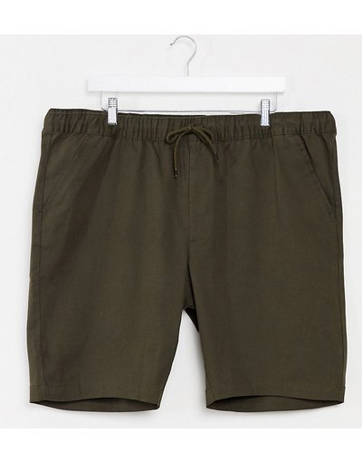 Verde uomo Chino skinny corti con vita elasticizzata kaki scuro - ASOS DESIGN Plus - Verde