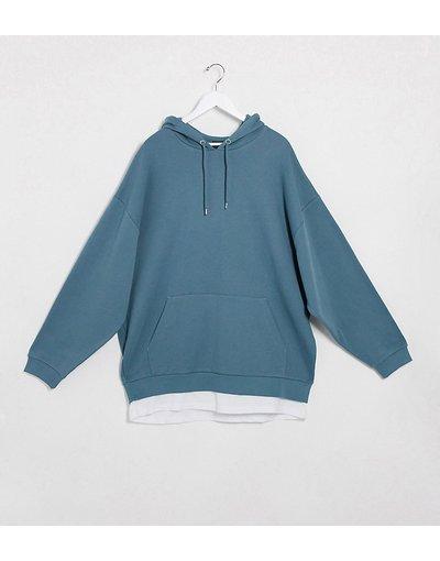 Felpa Grigio uomo Felpa oversize con cappuccio e fondo a T - ASOS DESIGN Plus - shirt grigio blu