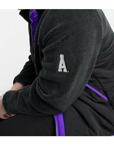 Viola uomo Giacca in pile borg con pannello a contrasto viola e nera - ASOS DESIGN Plus