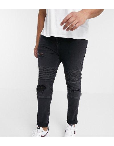 Jeans Nero uomo Jeans biker super skinny con abrasioni - ASOS DESIGN Plus - Nero