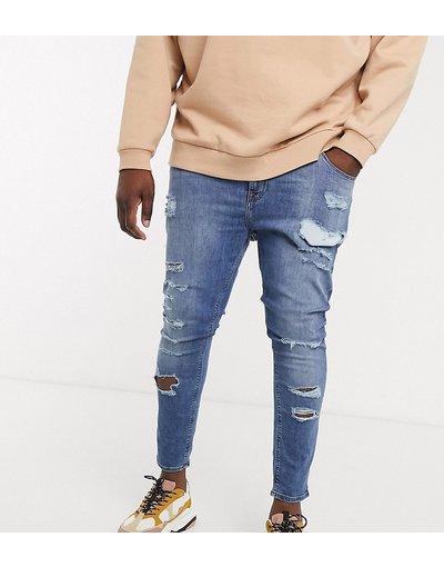 Jeans Blu uomo Jeans effetto spray power stretch lavaggio blu medio con strappi vistosi - ASOS DESIGN Plus