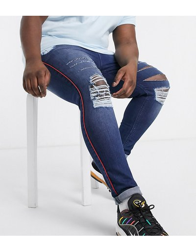 Jeans Blu uomo Jeans in powers stretch effetto spray con riga laterale e strappi vistosi - ASOS DESIGN Plus - Blu