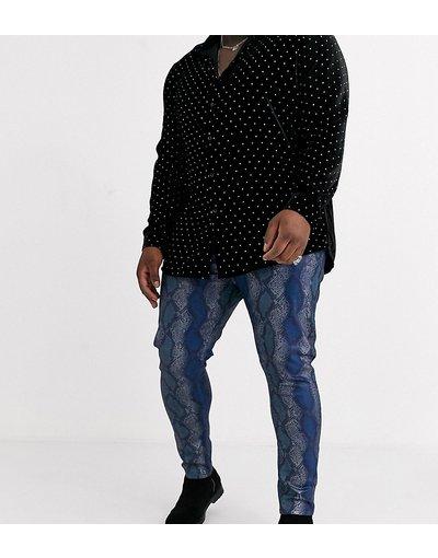 Jeans Blu uomo Jeans super skinny blu pitonato - ASOS DESIGN Plus