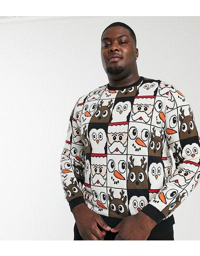 Nero uomo Maglione natalizio con motivi - ASOS DESIGN Plus - Nero