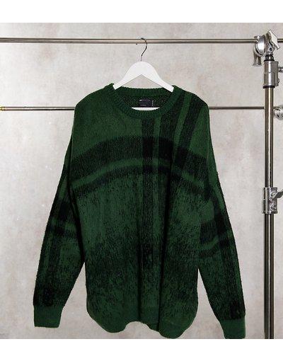 Verde uomo Maglione testurizzato a quadri effetto ombré kaki - ASOS DESIGN Plus - Verde