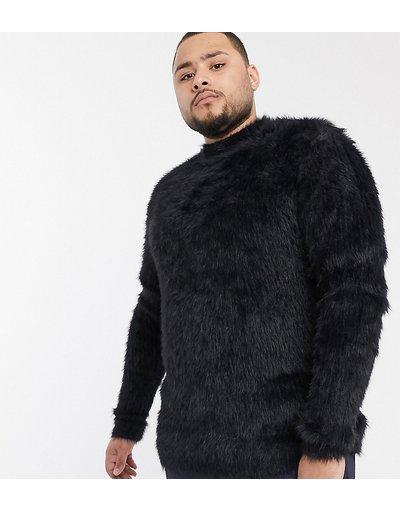 Nero uomo Morbido maglione nero operato con collo alto - ASOS DESIGN Plus