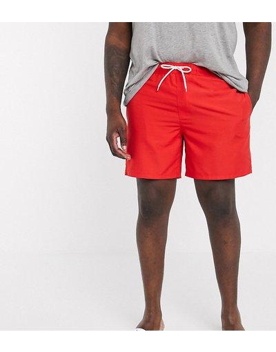 Costume Rosso uomo Pantaloncini da bagno rossi lunghezza media - ASOS DESIGN Plus - Rosso