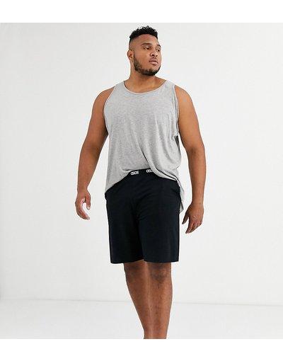 Pigiami Nero uomo Pantaloncini da casa neri con elastico in vita con logo - ASOS DESIGN Plus - Nero