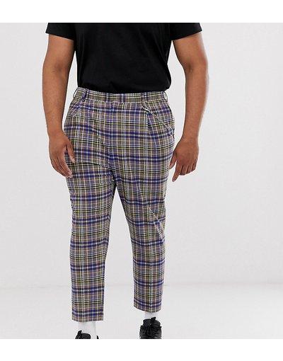 Pantalone Grigio uomo Pantaloni cropped affusolati a quadri grigi e blu con elemento in metallo - ASOS DESIGN Plus - Grigio