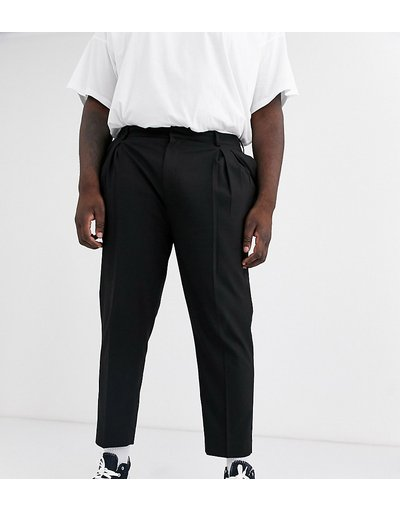 Nero uomo Pantaloni cropped eleganti affusolati neri con doppia piega - ASOS DESIGN PLUS - Nero