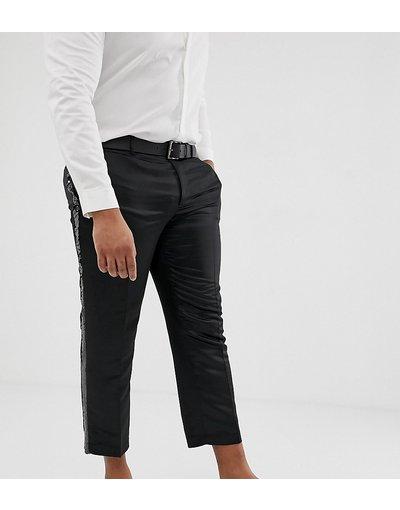 Nero uomo Pantaloni slim corti eleganti in nero satin con riga di paillettes laterale - ASOS DESIGN Plus