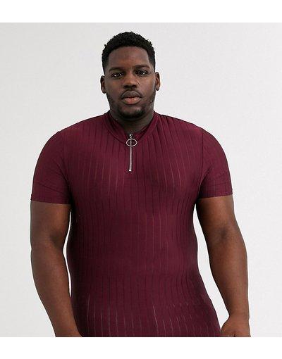 T-shirt Rosso uomo shirt skinny con collo alto con zip bordeaux - ASOS DESIGN Plus - Rosso - T