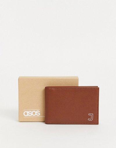 Portafoglio Marrone uomo Porta carta personalizzato in pelle color cuoio con iniziale J - ASOS DESIGN - Marrone