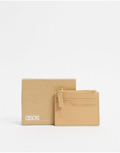 Portafoglio Cuoio uomo Porta carte in cuoio chiaro con zip - ASOS DESIGN
