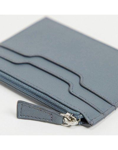 Portafoglio Grigio uomo Porta carte in pelle azzurra con zip - ASOS DESIGN - Grigio