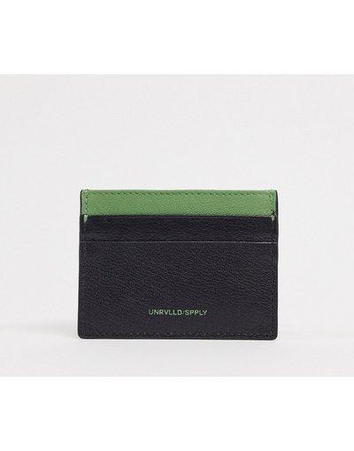 Portafoglio Nero uomo Porta carte in pelle nero con logo verde - ASOS DESIGN