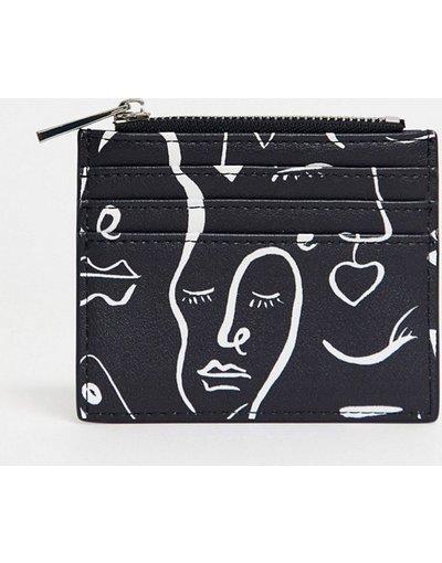 Borsa Nero donna Portacarte con volto stampato e borsellino portamonete - ASOS DESIGN - Nero