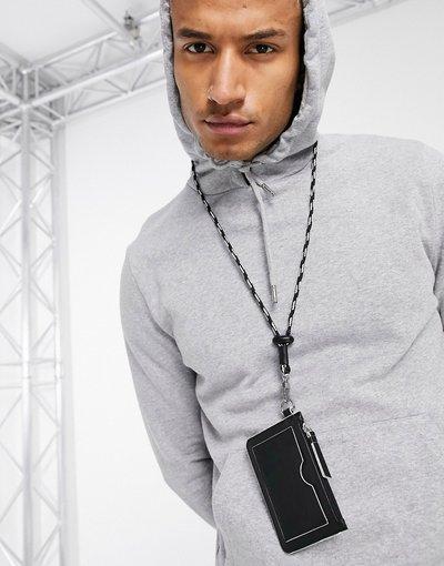 Portafoglio Nero uomo Portacarte in pelle nera con bordi a contrasto e cinturino - ASOS DESIGN - Nero