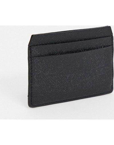 Portafoglio Nero uomo Portacarte in pelle nero saffiano - ASOS DESIGN