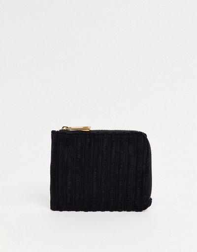 Portafoglio Nero uomo Portacarte in velluto nero a coste con zip a contrasto - ASOS DESIGN