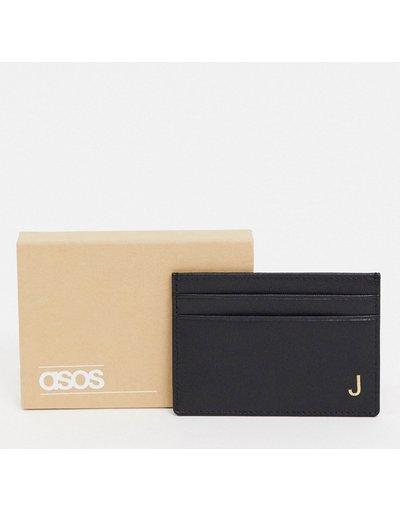 Portafoglio Nero uomo Portacarte personalizzato in pelle con letteraJ- ASOS DESIGN - Nero