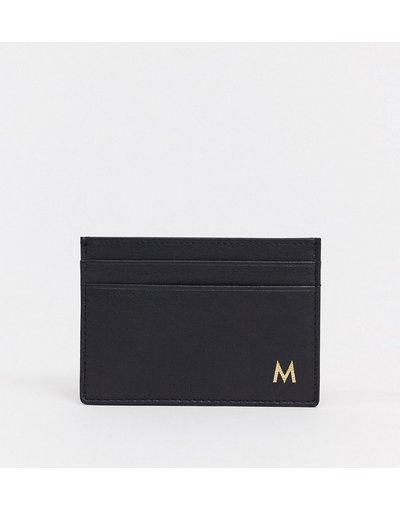 Portafoglio Nero uomo Portacarte personalizzato in pelle con letteraM- ASOS DESIGN - Nero