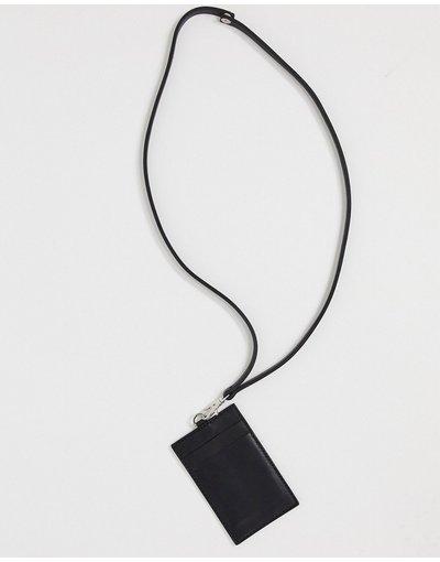 Portafoglio Nero uomo Portafogli rimovibile da collo in pelle nera con scomparti per carte di credito - ASOS DESIGN - Nero