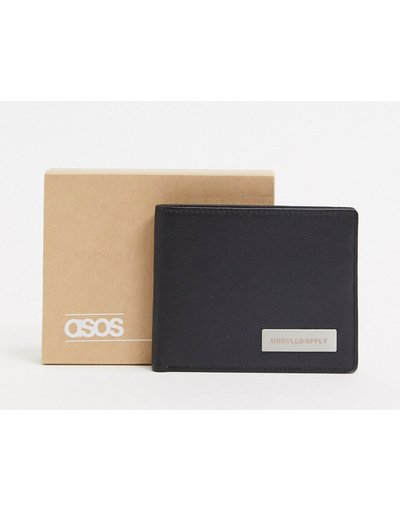 Portafoglio Nero uomo Portafoglio a libro in pelle nero con placca logo in metallo - ASOS DESIGN