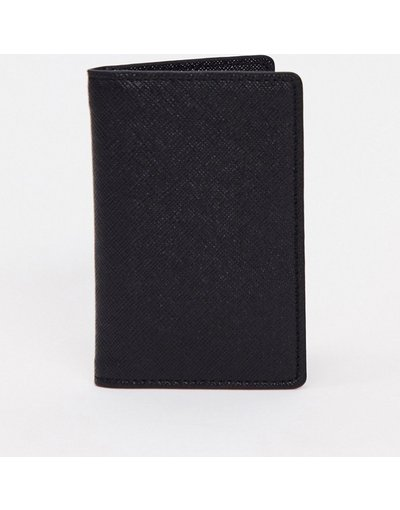 Portafoglio Nero uomo Portafoglio a libro in pelle saffiano nera - ASOS DESIGN - Nero