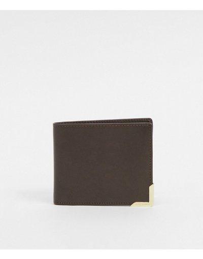 Portafoglio Marrone uomo Portafoglio in pelle marrone scuro con bordo in metallo con logo - ASOS DESIGN