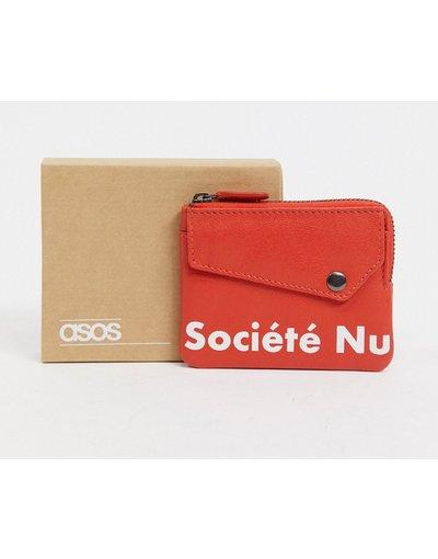 Portafoglio Rosso uomo Portafoglio in pelle rosso con scritta stampata e zip su tre lati - ASOS DESIGN