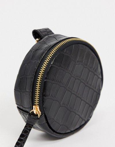 Portafoglio Nero uomo Portafoglio modulare rotondo con moschettone in pelle sintetica nero coccodrillo - ASOS DESIGN