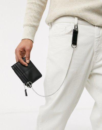 Portafoglio Nero uomo Portafoglio nero con catene argento - ASOS DESIGN