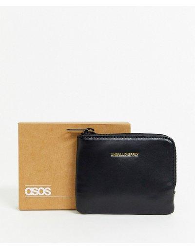 Portafoglio Nero uomo Portafoglio nero in ecopelle con zip su tre lati e logo impresso - ASOS DESIGN
