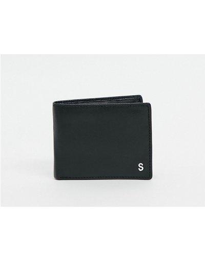 Portafoglio Nero uomo Portafoglio personalizzato in pelle con letteraSargentata, colore nero - ASOS DESIGN