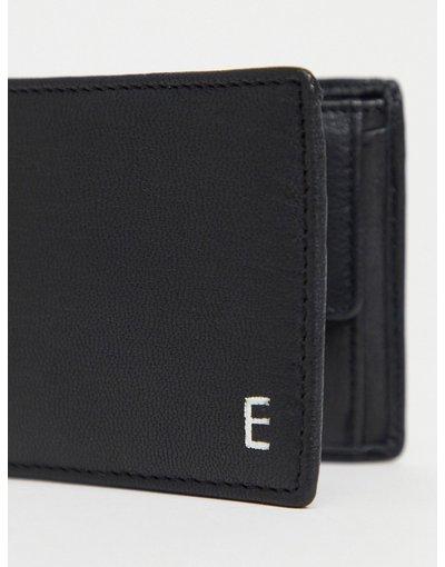 Portafoglio Nero uomo Portafoglio personalizzato in pelle nera con letteraEargentata - ASOS DESIGN - Nero