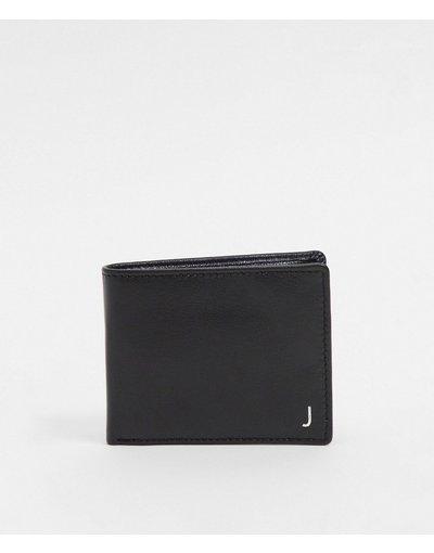 Portafoglio Nero uomo Portafoglio personalizzato in pelle nera con letteraJargentata - ASOS DESIGN - Nero