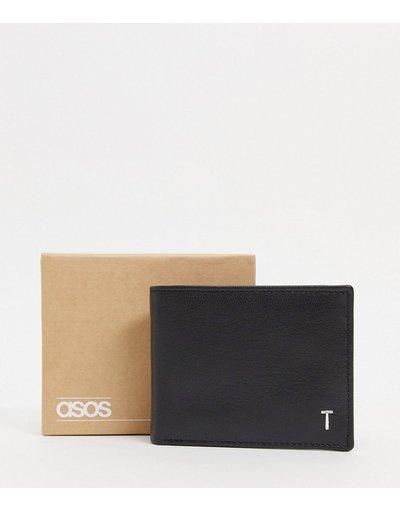 Portafoglio Nero uomo Portafoglio personalizzato in pelle nera con letteraTargentata - ASOS DESIGN - Nero