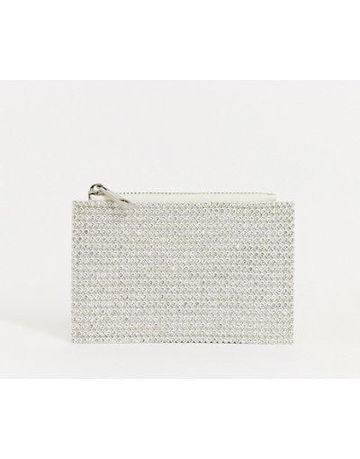 Portafoglio Bianco donna Portamonete con portacarte e strass - ASOS DESIGN - Bianco