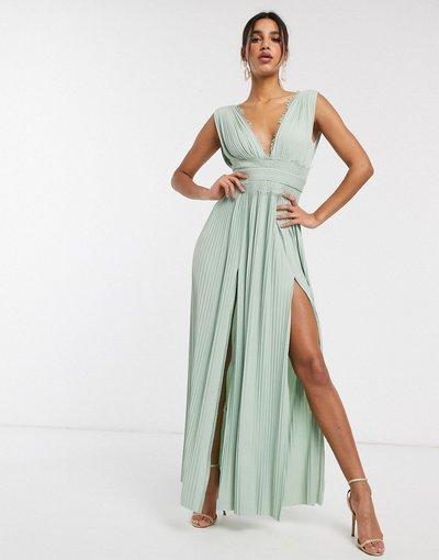 Verde donna Vestito lungo a pieghe con inserti in pizzo verde salvia - ASOS DESIGN - Premium