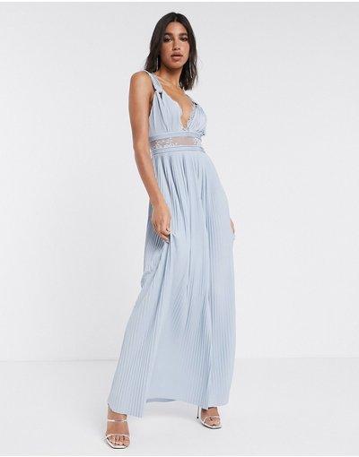 Blu donna Vestito lungo con inserti in pizzo e spalline attorcigliate colore celeste - ASOS DESIGN - Premium - Blu