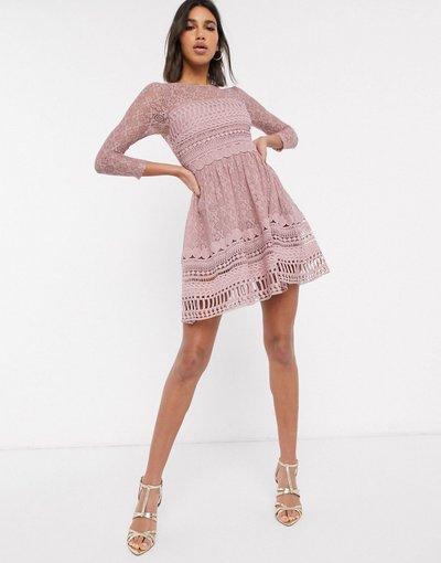 Eleganti pantaloni Rosa donna Vestito skater corto in pizzo volor visone - ASOS DESIGN Premium - Rosa